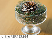Купить «close up of christmas decoration of fir and cone», фото № 29183924, снято 15 ноября 2017 г. (c) Syda Productions / Фотобанк Лори