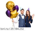 Купить «happy couple with party caps and balloons», фото № 29184232, снято 3 марта 2018 г. (c) Syda Productions / Фотобанк Лори