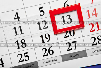 Friday the 13th, calendar with dates
