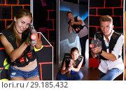 Купить «guys and girls playing laser tag», фото № 29185432, снято 27 августа 2018 г. (c) Яков Филимонов / Фотобанк Лори