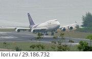 Купить «Thai Airways Boeing 747 approaching over ocean», видеоролик № 29186732, снято 28 ноября 2017 г. (c) Игорь Жоров / Фотобанк Лори