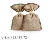 Купить «Two bags from a sacking over white», фото № 29187724, снято 6 октября 2018 г. (c) Алексей Кузнецов / Фотобанк Лори