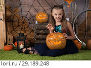 Купить «Baby girl for Halloween», фото № 29189248, снято 8 сентября 2018 г. (c) Типляшина Евгения / Фотобанк Лори