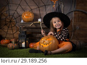 Купить «Baby girl for Halloween», фото № 29189256, снято 8 сентября 2018 г. (c) Типляшина Евгения / Фотобанк Лори