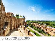 Купить «Walls in the west side of Carcassonne citadel», фото № 29200380, снято 27 июля 2017 г. (c) Сергей Новиков / Фотобанк Лори