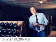 Купить «Wine producer with clipboard in wine cellar», фото № 29206408, снято 22 января 2018 г. (c) Яков Филимонов / Фотобанк Лори