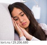 Купить «Teenager girl depression at home», фото № 29206680, снято 30 мая 2017 г. (c) Яков Филимонов / Фотобанк Лори