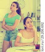 Купить «Two quarreled girls teenagers», фото № 29206692, снято 7 июня 2017 г. (c) Яков Филимонов / Фотобанк Лори