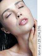 Купить «Closeup macro portrait of female face with eyes closed. Woman with natural beauty makeup», фото № 29214376, снято 14 августа 2018 г. (c) Serg Zastavkin / Фотобанк Лори