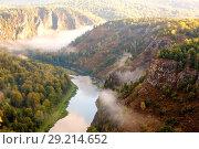 Купить «Panorama of the Ural taiga at dawn. Morning fog. Bashkortostan.», фото № 29214652, снято 9 сентября 2017 г. (c) Акиньшин Владимир / Фотобанк Лори
