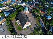 The top view on medieval Lutheran cathedral in the old city (shooting from the quadcopter). Porvoo, Finland (2018 год). Стоковое фото, фотограф Виктор Карасев / Фотобанк Лори