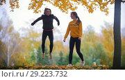 Купить «Girls warming up before training in park. Jumping on the spot», видеоролик № 29223732, снято 10 декабря 2018 г. (c) Константин Шишкин / Фотобанк Лори