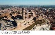 Купить «View from drone of Catalan city of Lleida with medieval Cathedral of St. Mary of La Seu Vella», видеоролик № 29224640, снято 20 июня 2017 г. (c) Яков Филимонов / Фотобанк Лори