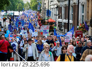 Купить «Thousands of anti-Brexit campaigners take part in the People's March for Europe pro-EU rally in central London. The march and rally is being held against...», фото № 29225696, снято 9 сентября 2017 г. (c) age Fotostock / Фотобанк Лори