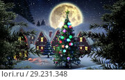 Купить «Christmas trees in Winter village with moon», видеоролик № 29231348, снято 4 июля 2020 г. (c) Wavebreak Media / Фотобанк Лори