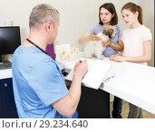 Купить «family with their puppy visiting veterinarian», фото № 29234640, снято 3 мая 2018 г. (c) Яков Филимонов / Фотобанк Лори