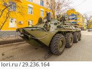 Купить «Russia, Samara, May 2018: BREM-K wheeled armored repair and evacuation vehicle based on BTR-80 in a summer sunny day.», фото № 29236164, снято 5 мая 2018 г. (c) Акиньшин Владимир / Фотобанк Лори