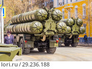Купить «Russia, Samara, May 2018: Anti-aircraft missile system (SAM) S-300 parked up on the city street», фото № 29236188, снято 5 мая 2018 г. (c) Акиньшин Владимир / Фотобанк Лори