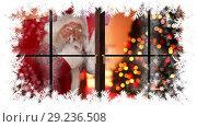 Купить «Christmas snowflake border with Santa in house with gifts», видеоролик № 29236508, снято 16 июня 2019 г. (c) Wavebreak Media / Фотобанк Лори
