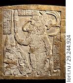 Купить «Mayan stone lintel (Maya: AD755-770) Bird Jaguar standing over a captive. British Museum, Bloomsbury, London, England, UK.», фото № 29244924, снято 17 августа 2018 г. (c) age Fotostock / Фотобанк Лори