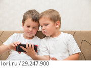 Купить «Two little boys look at smartphone», фото № 29247900, снято 29 августа 2018 г. (c) Юлия Бабкина / Фотобанк Лори