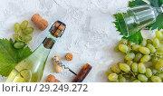 Bottle of white wine, grapes, glass and corkscrew. Стоковое фото, фотограф Марина Сапрунова / Фотобанк Лори