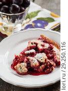Купить «Serve on a plate plum a Clafoutis», фото № 29250116, снято 17 июля 2013 г. (c) Tetiana Chugunova / Фотобанк Лори