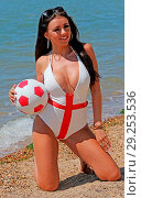 Купить «Ex Voice star the gorgeous Lydia Lucy goes all patriotic on the beach at Leigh on Sea Essex n her England themed bikini earlier today. Featuring: Voice...», фото № 29253536, снято 26 июня 2018 г. (c) age Fotostock / Фотобанк Лори