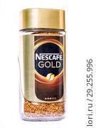 Купить «Банка кофе Nescafe Gold. Nescafe is a brand of instant coffee made by Nestle», фото № 29255996, снято 27 июля 2018 г. (c) Евгений Ткачёв / Фотобанк Лори