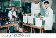 Купить «Man standing in packing section on winemaking factory», фото № 29256888, снято 21 сентября 2016 г. (c) Яков Филимонов / Фотобанк Лори