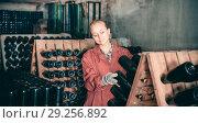 Купить «Wine maker taking care of seasoning bottles», фото № 29256892, снято 21 сентября 2016 г. (c) Яков Филимонов / Фотобанк Лори