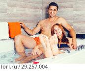 Купить «Romantic couple is enjoying aromatherapy together», фото № 29257004, снято 18 июля 2017 г. (c) Яков Филимонов / Фотобанк Лори