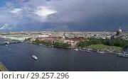 Купить «Flight over Neva River in center of St. Petersburg», видеоролик № 29257296, снято 9 сентября 2018 г. (c) Михаил Коханчиков / Фотобанк Лори