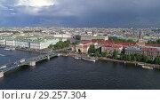 Купить «Aerial panorama of city center of St. Petersburg», видеоролик № 29257304, снято 9 сентября 2018 г. (c) Михаил Коханчиков / Фотобанк Лори