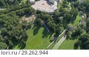Купить «Flight over Palace in Pavlovsky Park, Russia», видеоролик № 29262944, снято 31 августа 2018 г. (c) Михаил Коханчиков / Фотобанк Лори