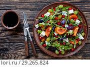 Купить «overhead view of healthy autumn salad», фото № 29265824, снято 13 октября 2018 г. (c) Oksana Zh / Фотобанк Лори