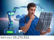 Купить «Telehealth concept with doctor doing remote check-up», фото № 29270832, снято 26 марта 2019 г. (c) Elnur / Фотобанк Лори