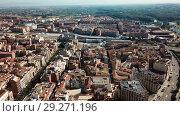 Купить «Aerial view of Lleida city with a apartment buildings and river, Spain», видеоролик № 29271196, снято 25 июля 2018 г. (c) Яков Филимонов / Фотобанк Лори