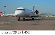 Купить «Official spotting. The plane Rusline airlines taxied to the parking lot.», видеоролик № 29271452, снято 1 августа 2018 г. (c) Андрей Радченко / Фотобанк Лори
