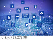 Купить «Concept of smart city and internet of things», фото № 29272984, снято 26 мая 2020 г. (c) Elnur / Фотобанк Лори
