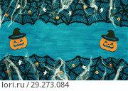 Купить «Halloween background - spider web lace, smiling jack decorations as symbols of Halloween», фото № 29273084, снято 8 октября 2018 г. (c) Зезелина Марина / Фотобанк Лори