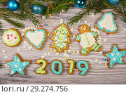 Glazed Christmas gingerbread. Стоковое фото, фотограф Okssi / Фотобанк Лори