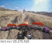 Купить «Enduro journey with dirt bike in high mountains in Caucasus nature», фото № 29275520, снято 20 февраля 2015 г. (c) Aleksejs Bergmanis / Фотобанк Лори