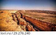 Купить «Panorama view to Aral sea from the rim of Plateau Ustyurt near Aktumsuk cape , Karakalpakstan, Uzbekistan», фото № 29276240, снято 28 апреля 2017 г. (c) Сергей Майоров / Фотобанк Лори
