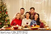 Купить «happy friends celebrating christmas at home», фото № 29277512, снято 17 декабря 2017 г. (c) Syda Productions / Фотобанк Лори