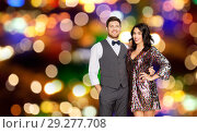 Купить «happy couple hugging at party over festive lights», фото № 29277708, снято 15 декабря 2017 г. (c) Syda Productions / Фотобанк Лори