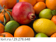 Купить «close up of citrus fruits», фото № 29278648, снято 4 апреля 2018 г. (c) Syda Productions / Фотобанк Лори