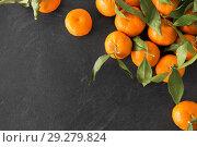 Купить «close up of mandarins on slate table top», фото № 29279824, снято 4 апреля 2018 г. (c) Syda Productions / Фотобанк Лори