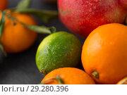 Купить «close up of citrus fruits», фото № 29280396, снято 4 апреля 2018 г. (c) Syda Productions / Фотобанк Лори