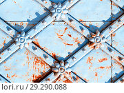 Купить «Metal architecture retro background. Vintage metal blue surface with rusty architectural details in form of flowers», фото № 29290088, снято 24 августа 2018 г. (c) Зезелина Марина / Фотобанк Лори